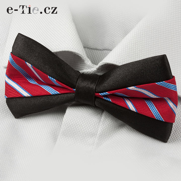 Motýlek Aldi Stripe Black Red